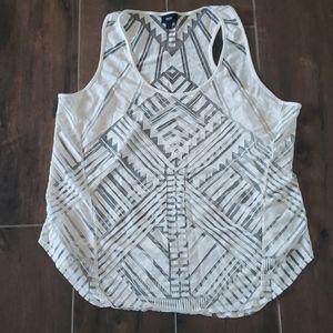 Mossimo sheer tribal/geometric print tank top
